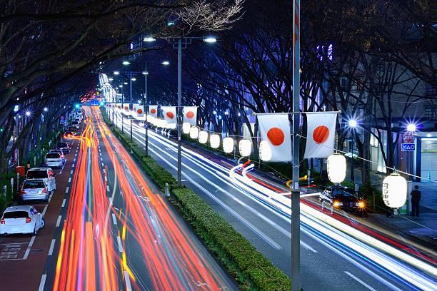Los senderos de luz en Harajuku, Tokyo - foto de stock