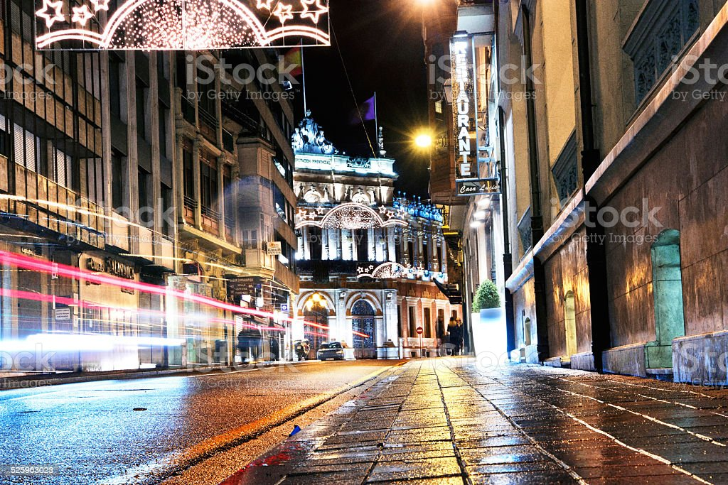 Light trails in Palencia stock photo