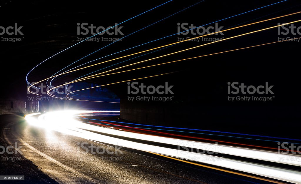 light trails in tunnel stock photo