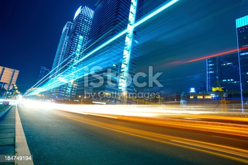 istock Light trails on a city street 184749194