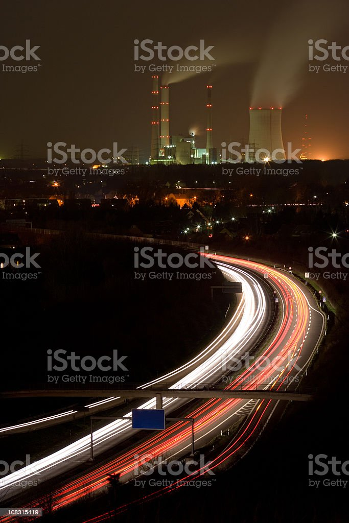 Light Trails On Highway And Power Station royalty-free stock photo