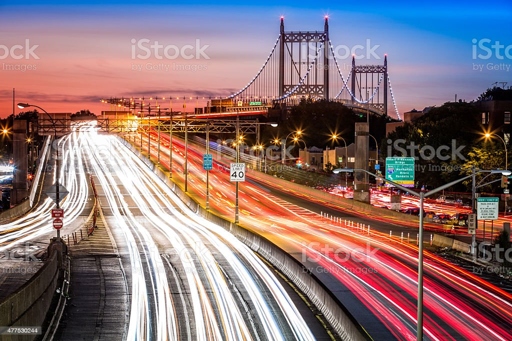 Light trails on I-278 near Triboro Bridge stock photo