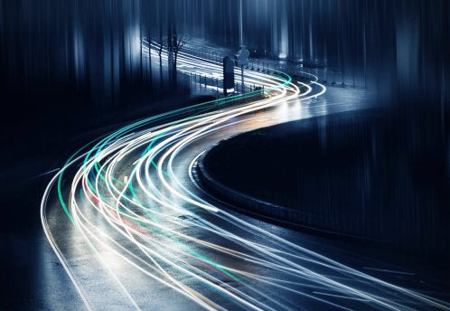 light trails on  steet in shanghai china