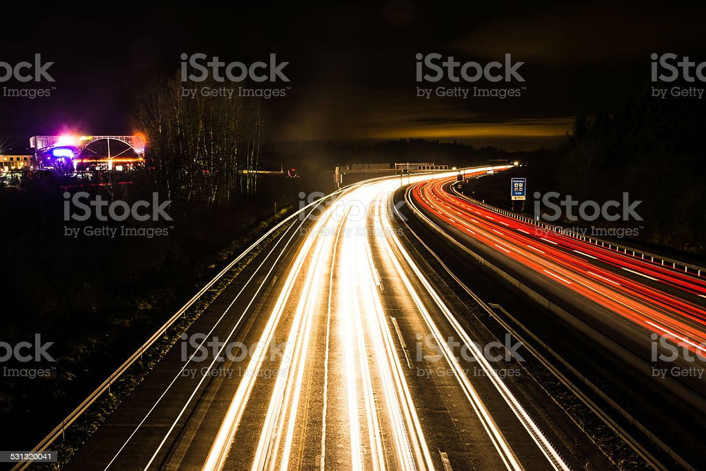 Light Trails on the Highway stock photo