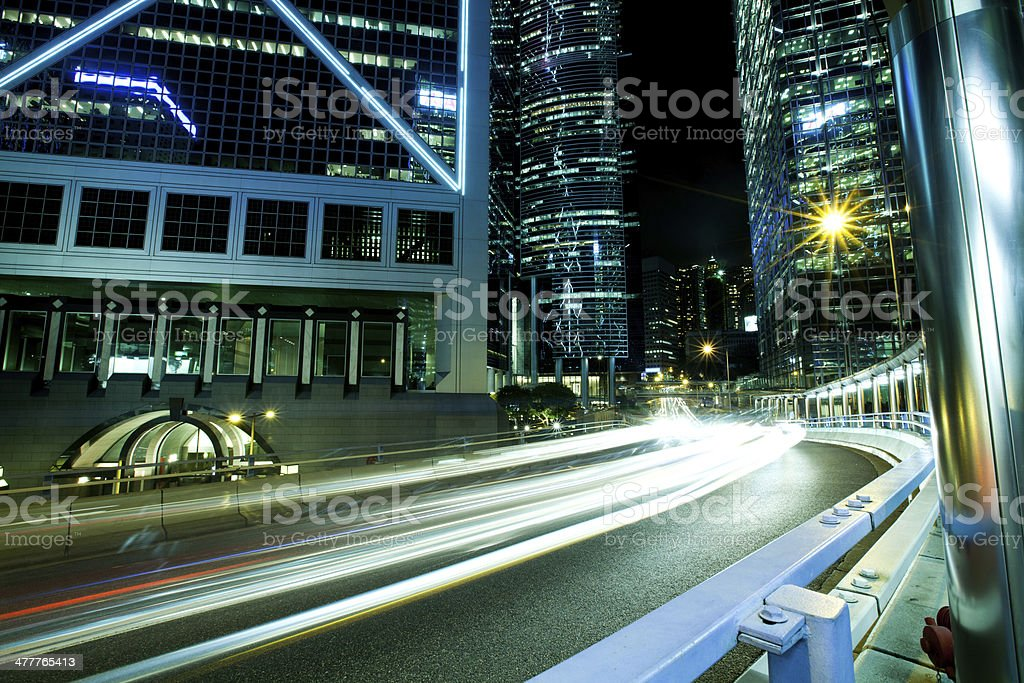 light trails on the modern building background royalty-free stock photo