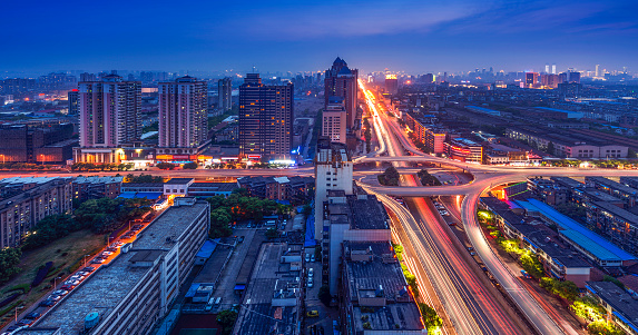 light trails on the steet in shanghai china