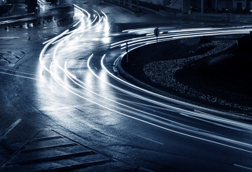 light trails on the steet in shanghai china.