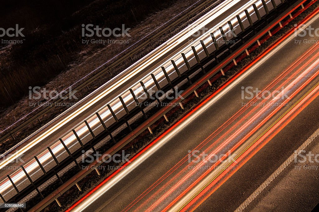 Light Trails On The Street stock photo