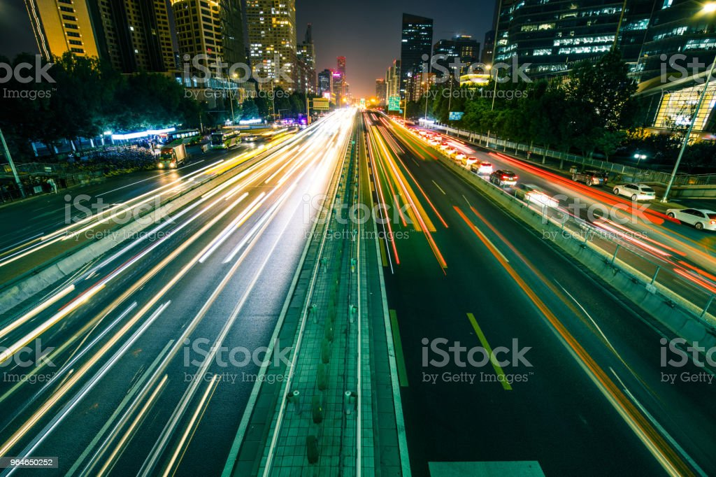 Light trails on the street royalty-free stock photo