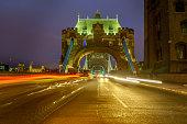 Light trails on Tower Bridge London