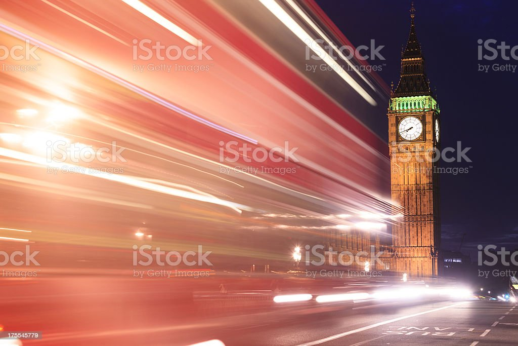 Light trails on Westminster bridge royalty-free stock photo