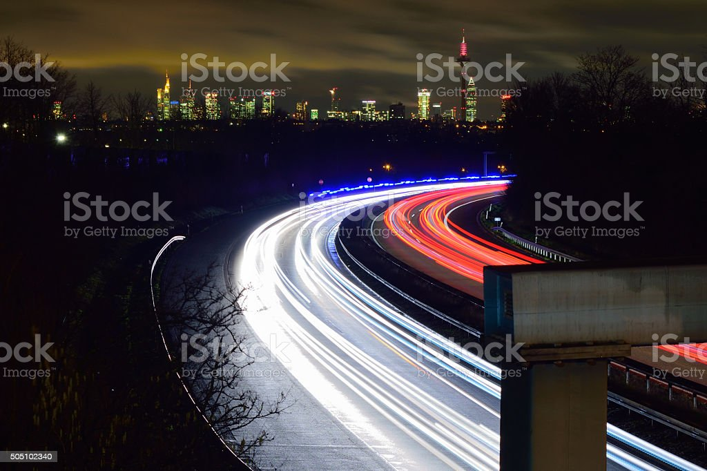 Light trails - skyline stock photo