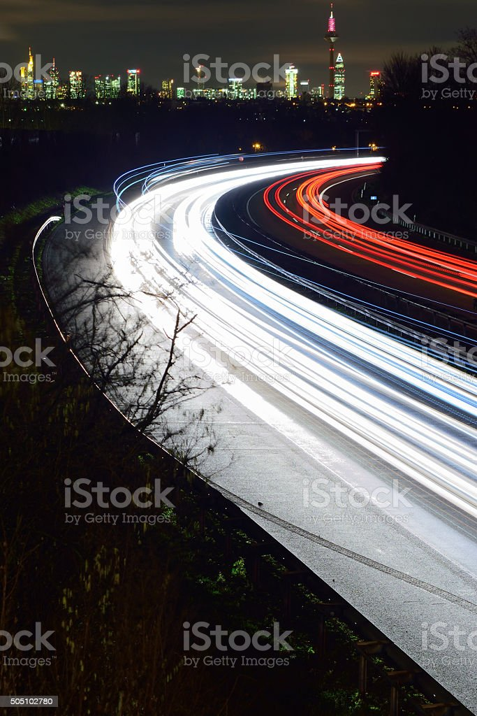 Light trails - skyline stock photo