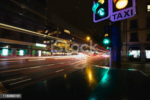 Long exposure of the city streets of Geneva, Switzerland.