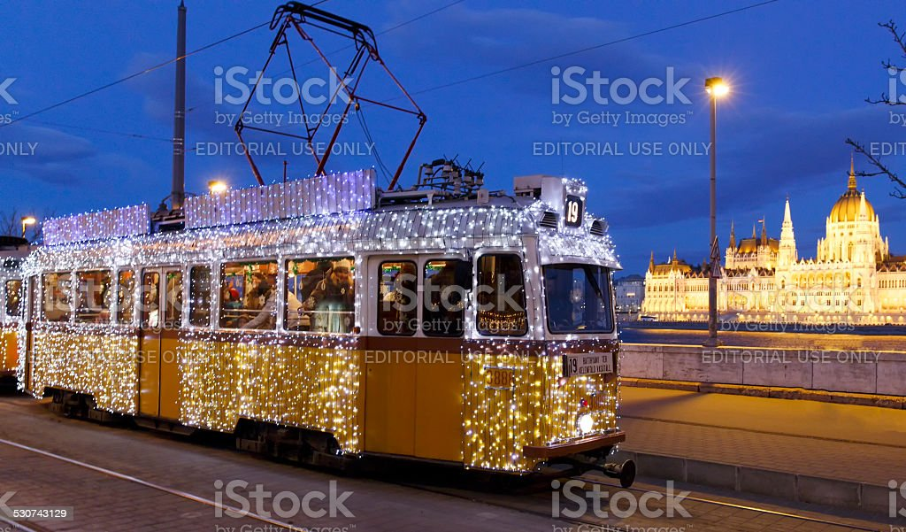 Light tram in Budapest stock photo