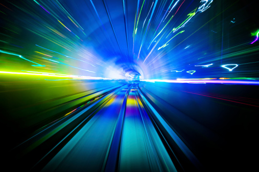 Abstract image of train moving through the tunnel