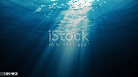 light underwater abstract blue ocean background