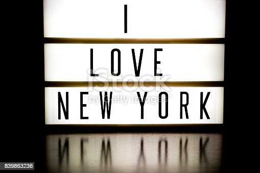 458128003 istock photo A light up board displaying the phrase I LOVE NEW YORK 839863236