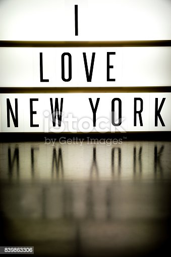 458128003 istock photo A light up board displaying the phrase I LOVE NEW YORK 839863306