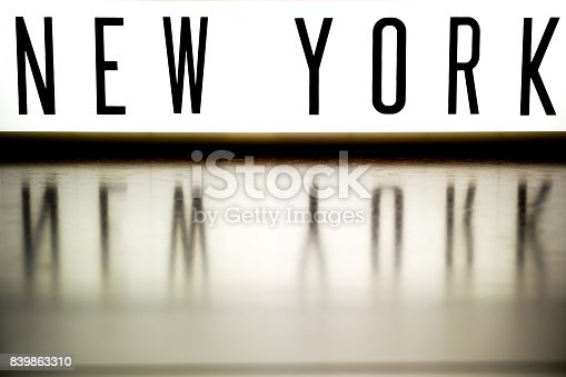 458128003 istock photo A light up board displaying the phrase NEW YORK 839863310