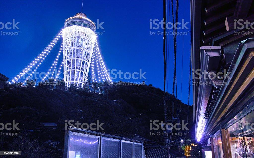 Light up of Enoshima lighthouse stock photo