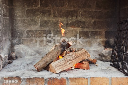 Shot of a log fire in an outdoor fireplace at home