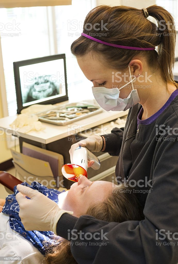 UV light used in dentistry stock photo