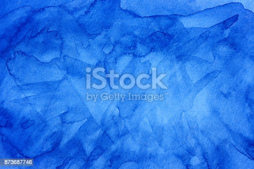 istock Light water blue watercolor banner for web design. 873687746