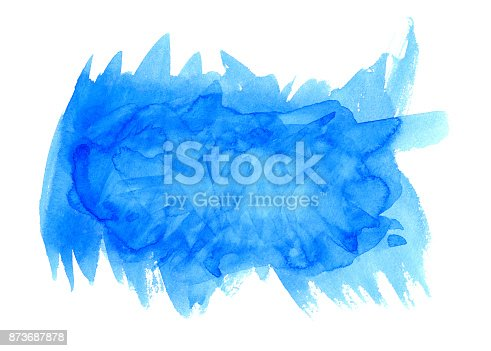 istock Light water blue watercolor banner for web design. 873687878