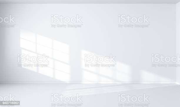 light from window and white room interior, 3D rendering