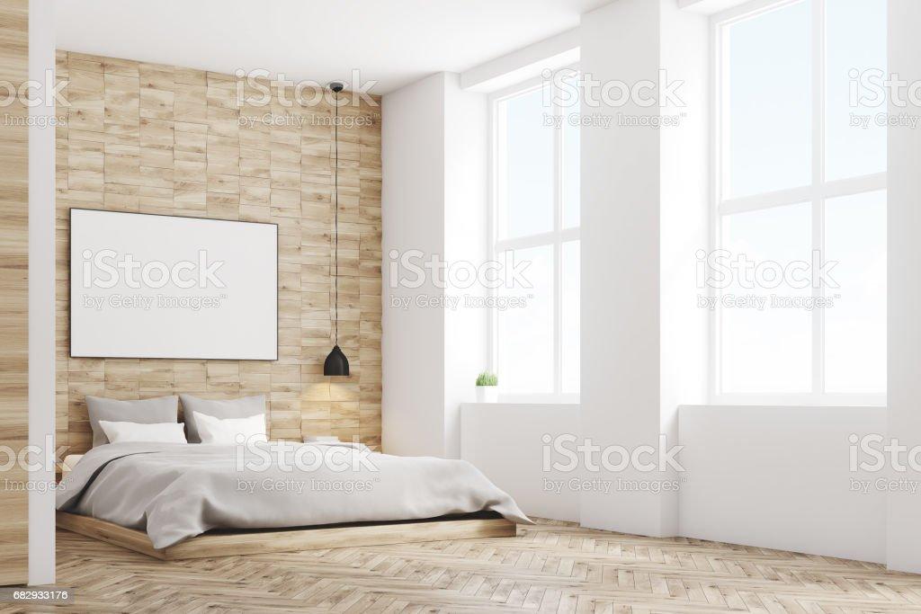 Light wood bedroom, side royalty-free stock photo