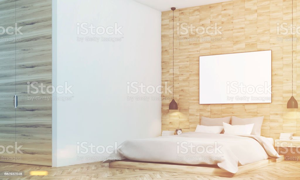 Light wooden bedroom, side, toned royalty-free stock photo