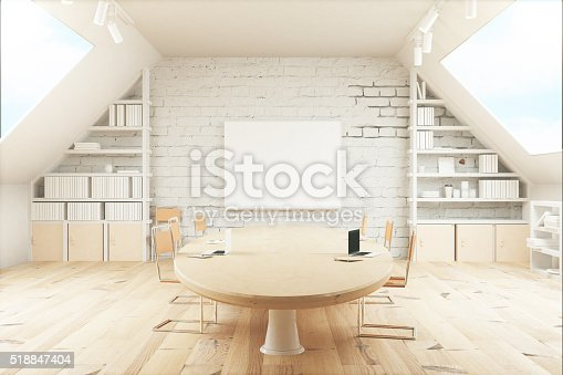 istock Light wooden conference room 518847404