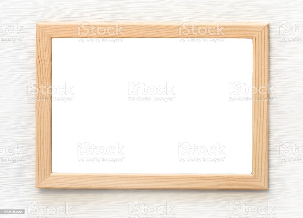 Light Wooden Frame With Blank Picture Isolated On White Wall Stock ...