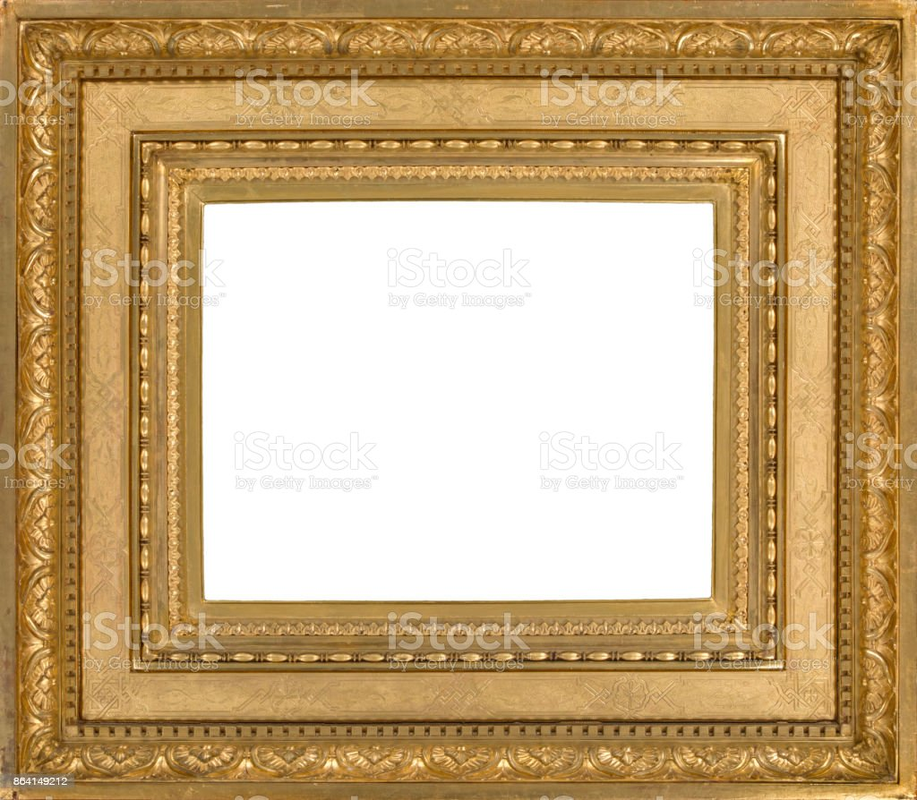 Light wooden picture frame gilded for wall hanging royalty-free stock photo