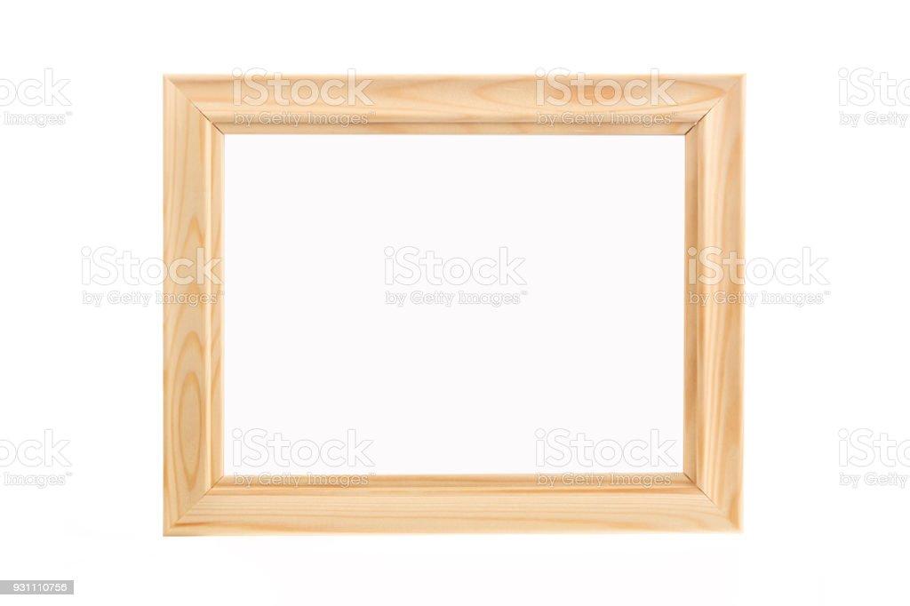 Beyaz bir arka plan üzerinde izole hafif ahşap fotoğraf çerçevesi. - Royalty-free Ahşap Stok görsel