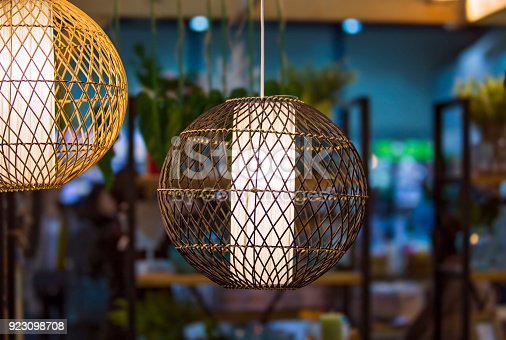 istock Light woven round lamp, made of light wood or bamboo material 923098708