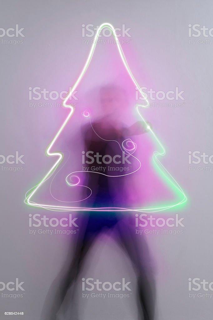 light_trail_symbol_christmas_tree stock photo