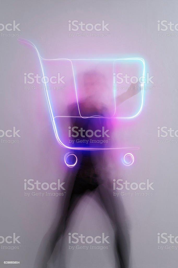light_trail_symbol_shopping_trolley stock photo
