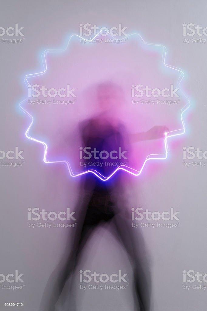 light_trail_symbol_speech_bubble_star stock photo