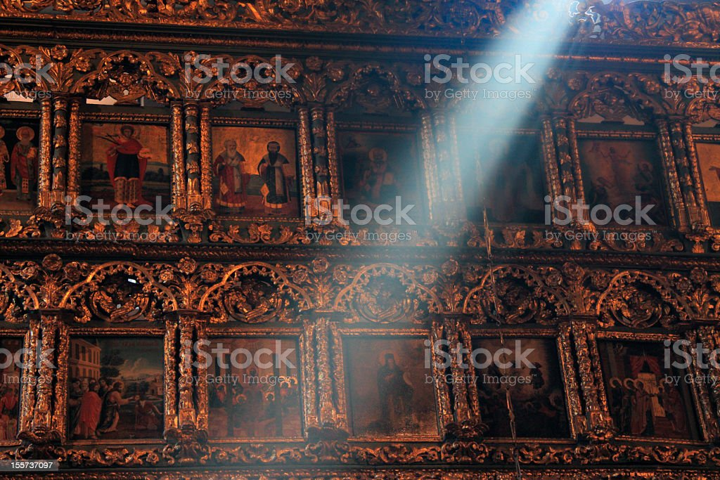 Lightbeam in a Church stock photo
