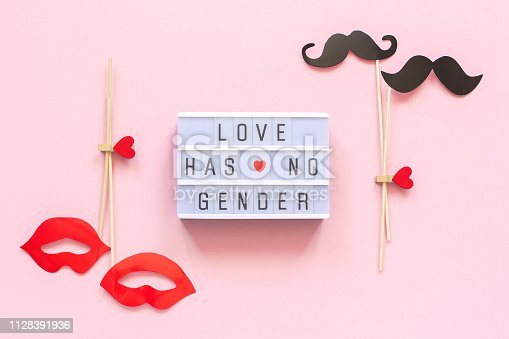 Lightbox text Love has no gender, couple paper mustache lips props on pink background. Concept Homosexuality gay love National Day Against Homophobia or International Gay Day Top view Greeting card.
