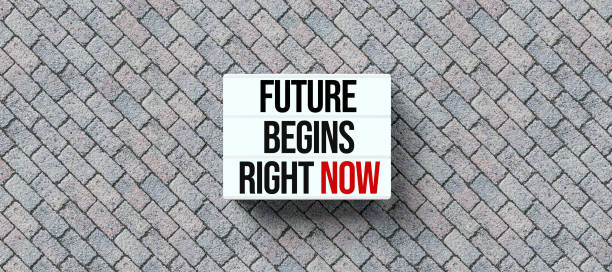 lightbox with message FUTURE BEGINS RIGHT NOW - 3D rendered illustration stock photo