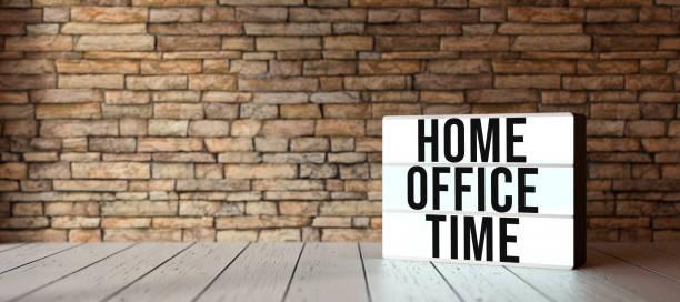 Leuchtkasten mit Text HOME OFFICE TIME - 3D gerenderte Illustration – Foto