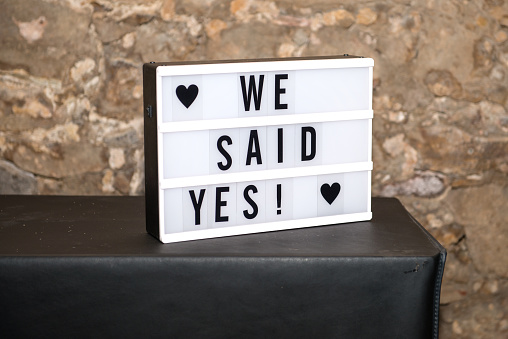 Lightbox with text: We said yes!