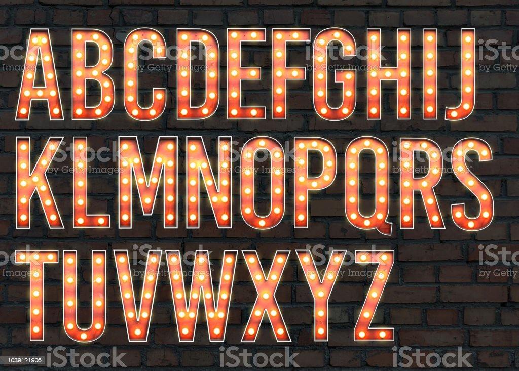 alfabeto de bombilla - foto de stock