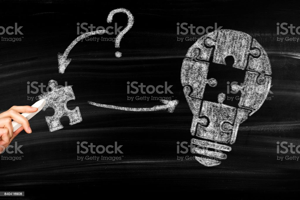 Lightbulb as idea and problem solving concept stock photo