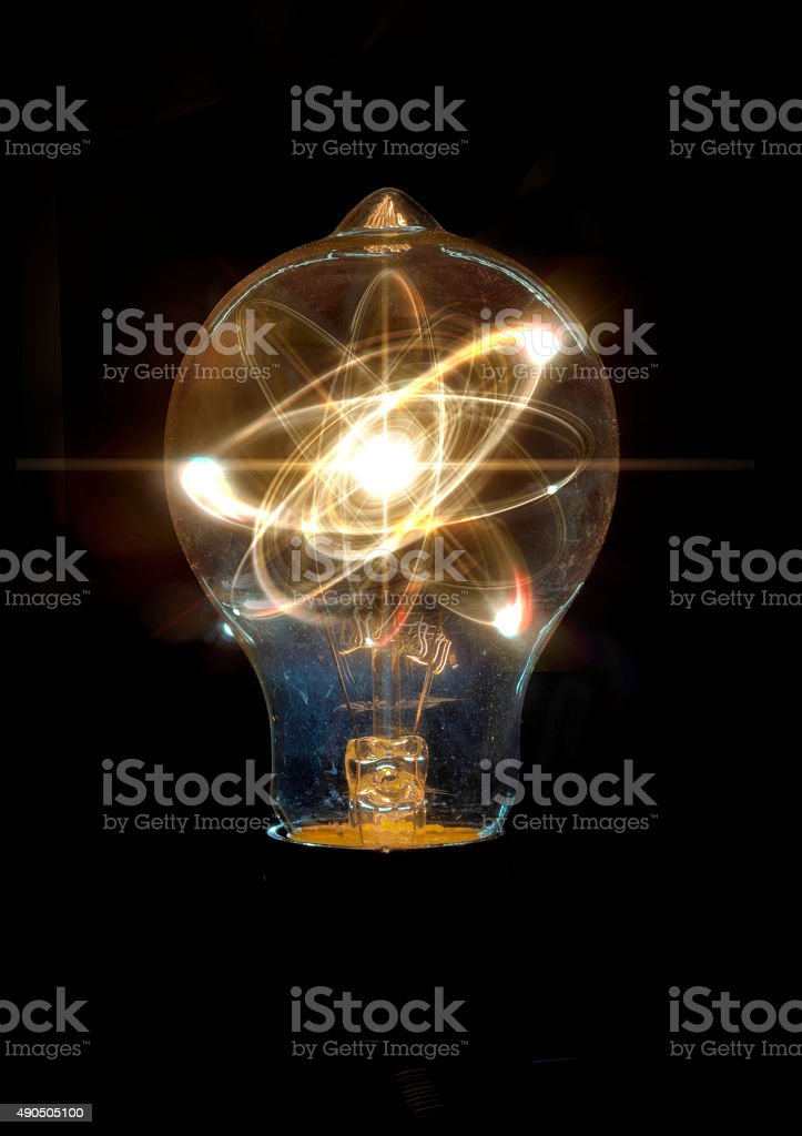 Lightbulb Atom Particle stock photo