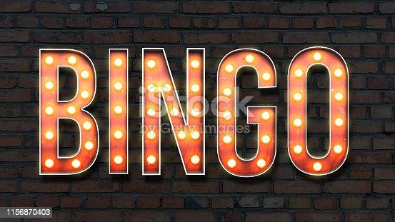 Image of lightbulb lettering on a brick wall background spelling bingo