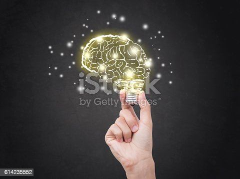 istock lightbulb brainstorming creative idea abstract icon on business hand. 614235552
